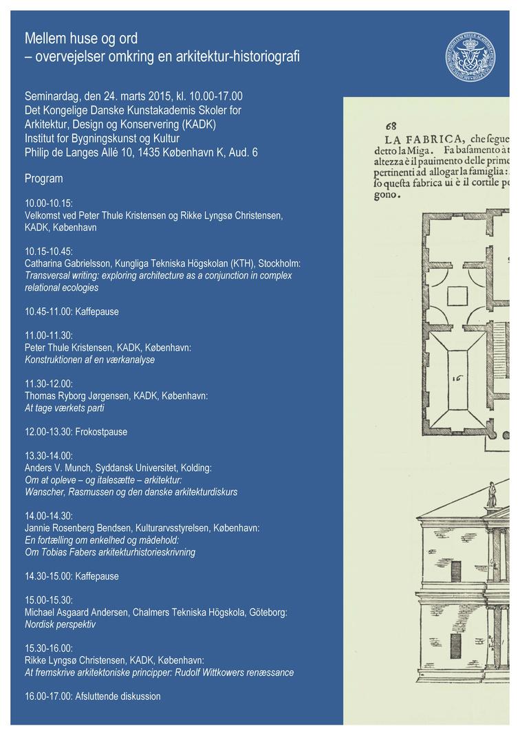 e n arkitektur Seminar: Mellem huse og ord – overvejelser omkring en arkitektur  e n arkitektur